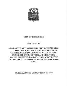 Bylaw 14280 - To authorize the City of Edmonton to construct, finance, and assess Street Construc...