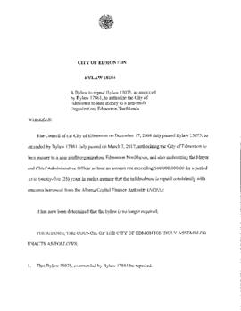 Bylaw 18184 - A Bylaw to Repeal Bylaw 15075, as Amended by Bylaw 17861, to Authorize the City of ...