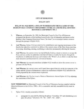 Bylaw 12473 - A Bylaw to amend bylaw 9122 being a bylaw to Designate the Facades of the Hudson's ...