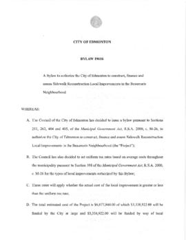 Bylaw 19616 - A Bylaw to authorize the City of Edmonton to construct, finance and assess Sidewalk...