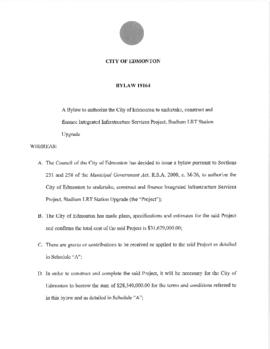 Bylaw 19164 - A Bylaw to authorize the City of Edmonton to undertake, construct and finance Integ...