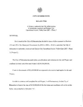 Bylaw 17980 - A Bylaw to Authorize the City of Edmonton to Undertake, Construct and Finance City ...