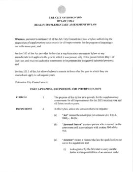 Bylaw 19514 - Realty Supplementary Assessment Bylaw
