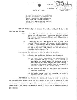 Bylaw 10293 - A Bylaw to authorize the Municipal Council of The City of Edmonton to incur a tempo...