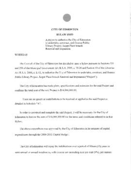 Bylaw 15153 - To authorize the City of Edmonton to undertake, construct and finance Library Proje...